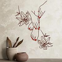 Виниловая наклейка для салона красоты Маникюр и Педикюр с лилиями матовая 545х700 мм