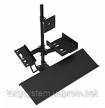 Кассовая стойка для оборудование с держателями монитора, принтера чеков, банковского терминала