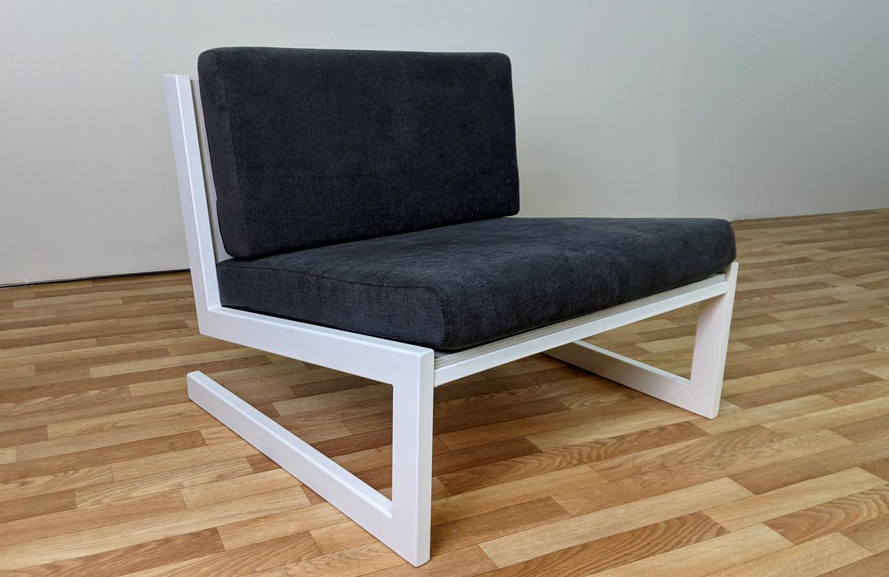"""Серое кресло """"SOFT"""" в стиле LOFT из металла и ткани"""