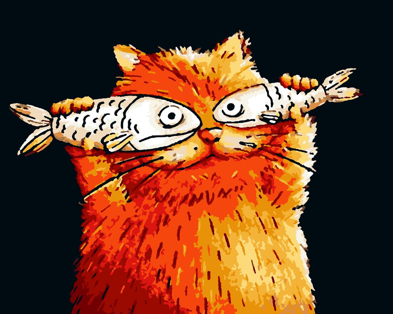 Картини за номерами тварини кіт 40х50 Котячий Перфоманс