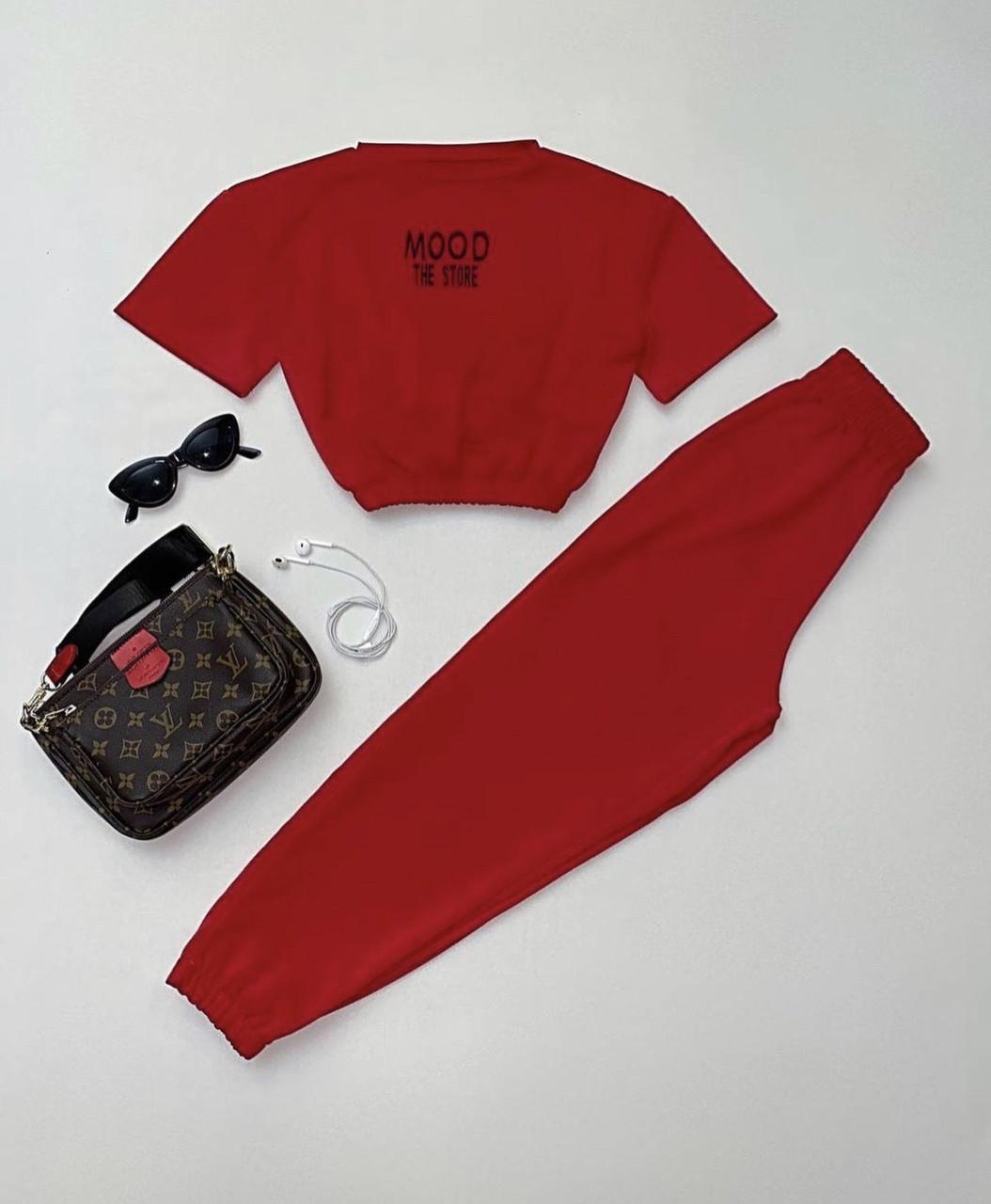 Жіночий спортивний костюм, турецька двунить, р-р 42-44; 44-46 (червоний)