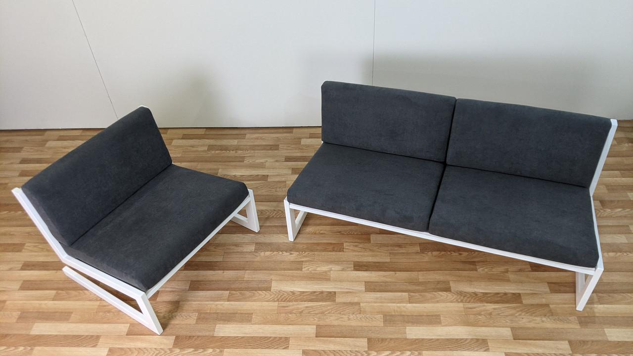 """Комплект Диван і Крісло """"SOFT"""" в стилі LOFT з металу і тканини"""