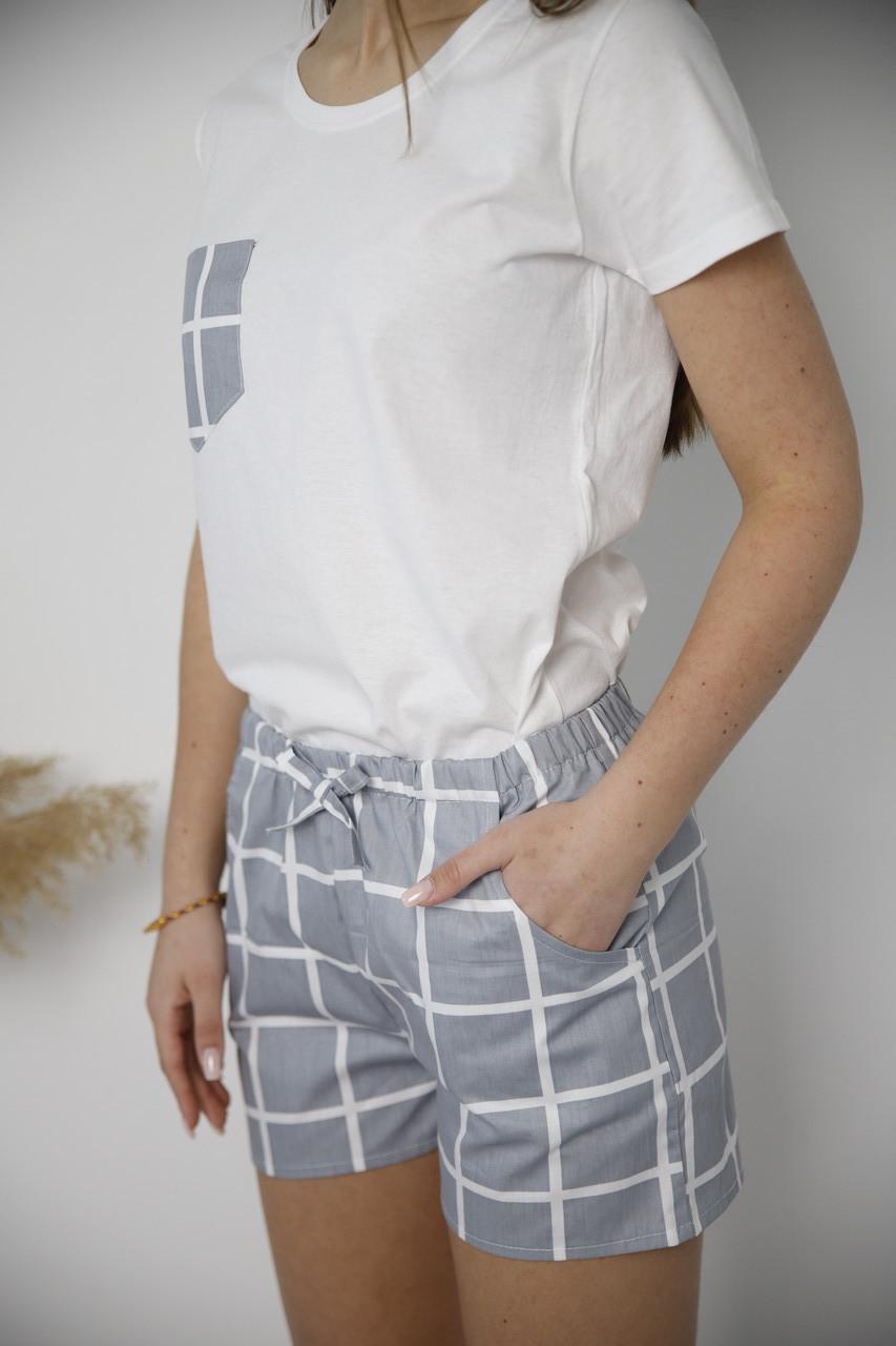 Пижама серая в клетку, футболка и шорты