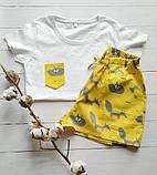 Пижама желтая с лисичками, футболка  шорты, фото 2
