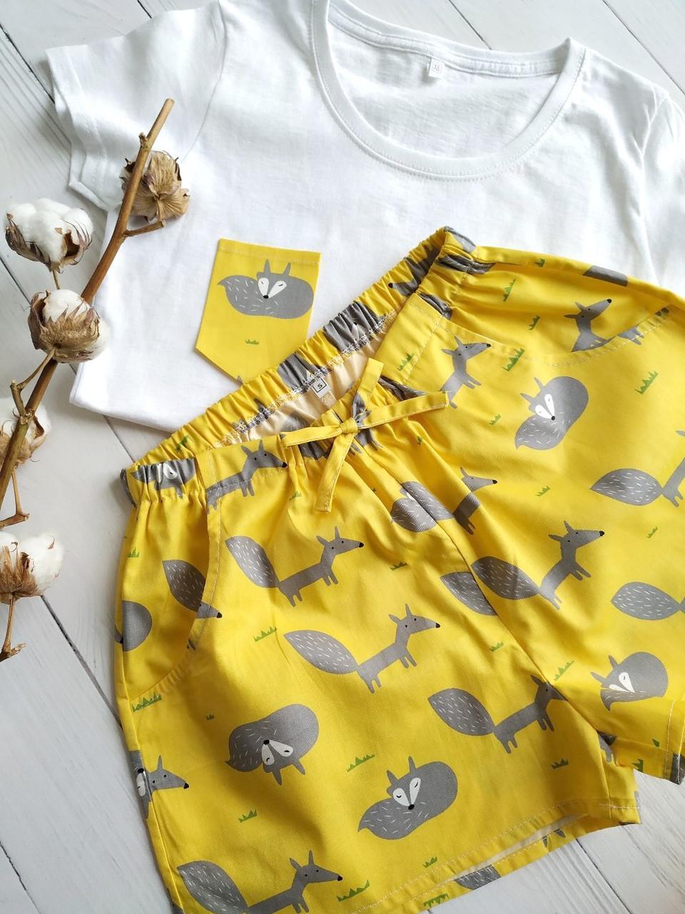 Пижама желтая с лисичками, футболка  шорты