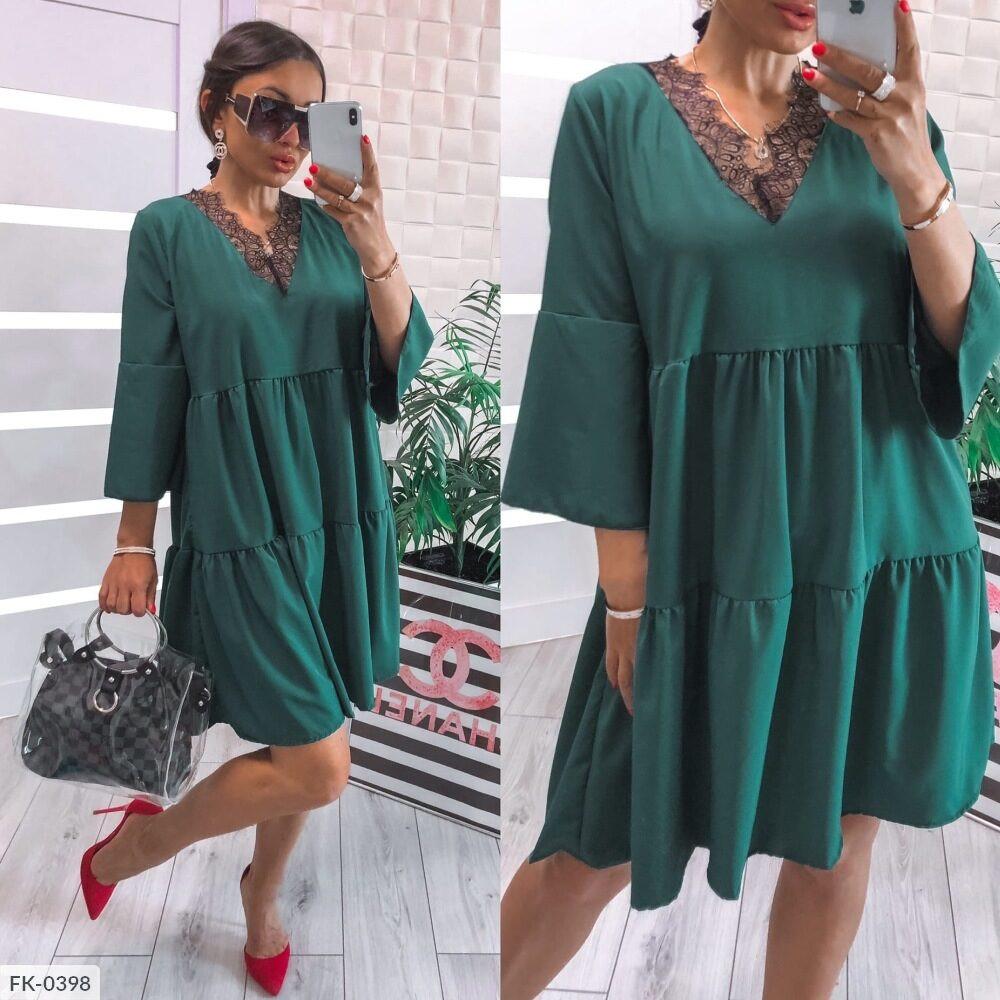 Женское платье софт с кружевом (Батал)