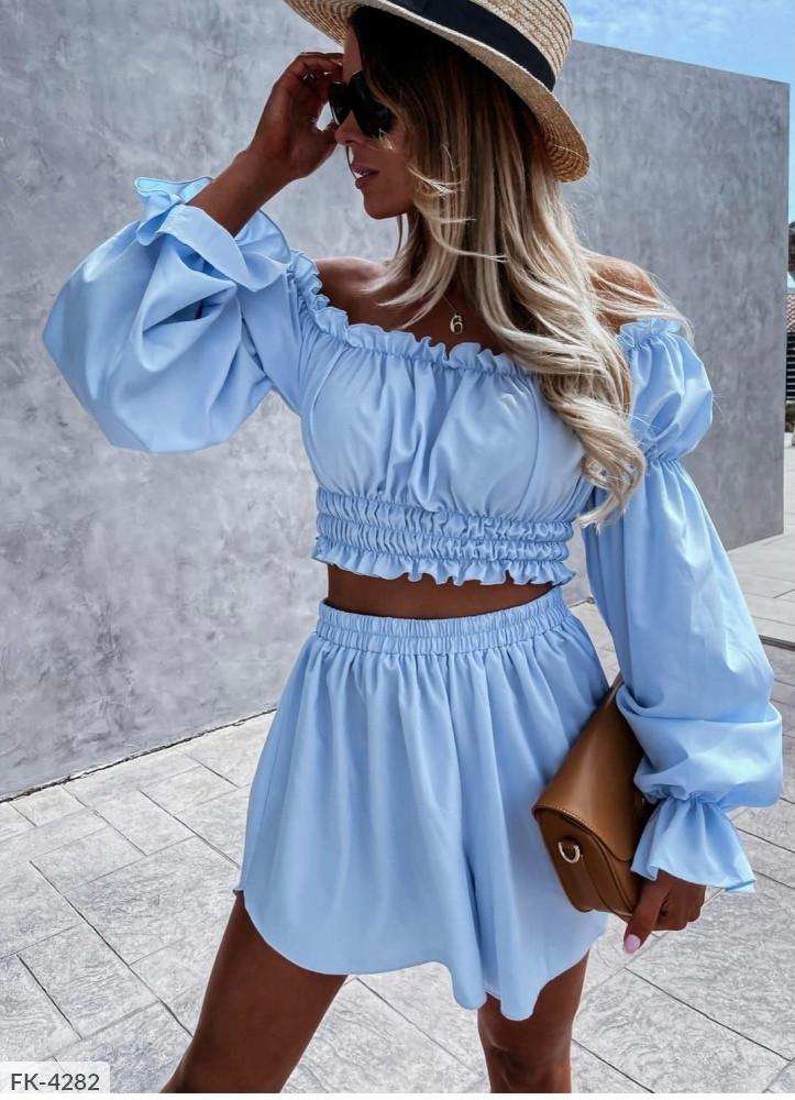 Жіночий костюм двійка спідниця-шорти + топ на гумці