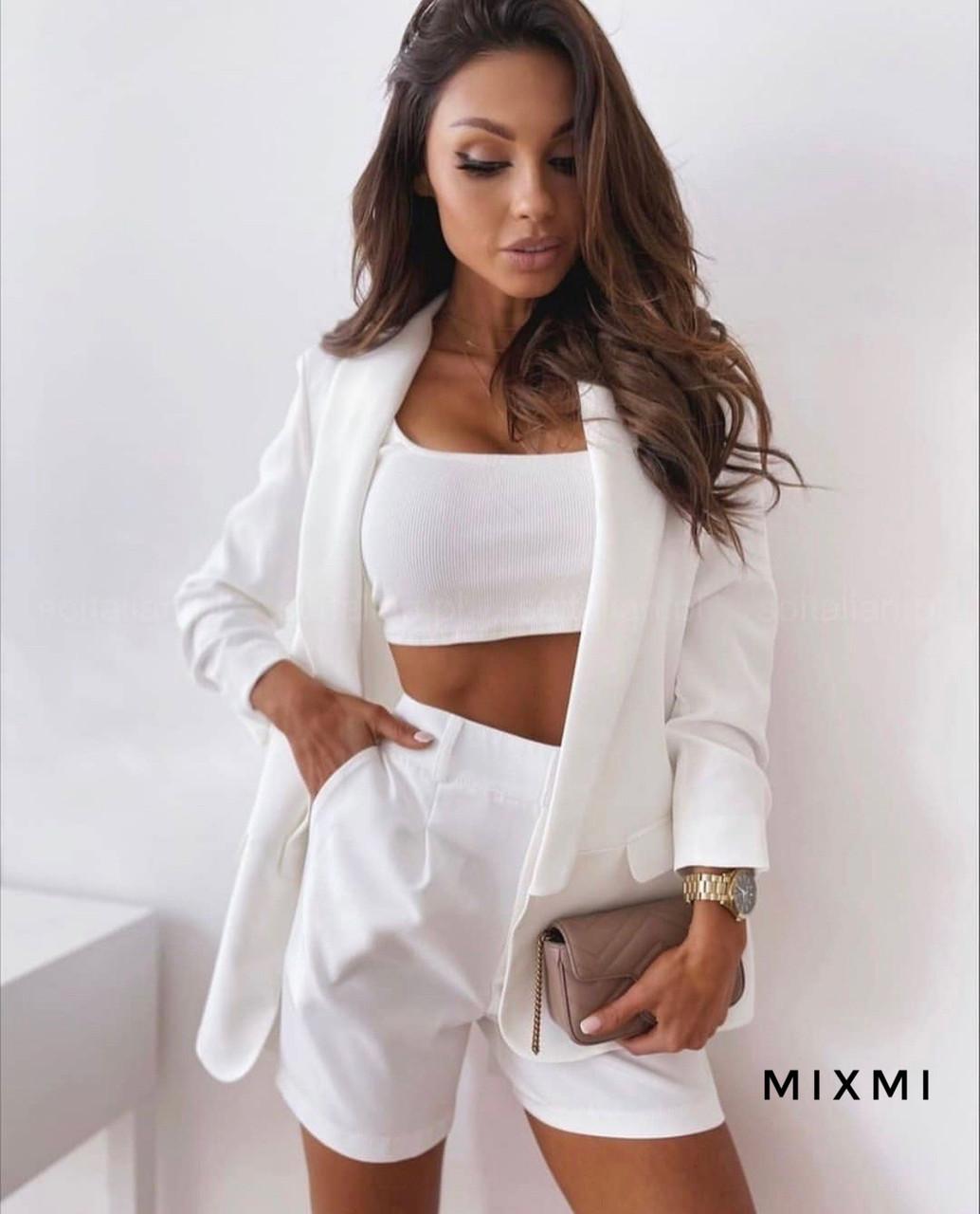 Жіночий костюм, костюмка класу люкс, р-р 42-44; 44-46 (білий)