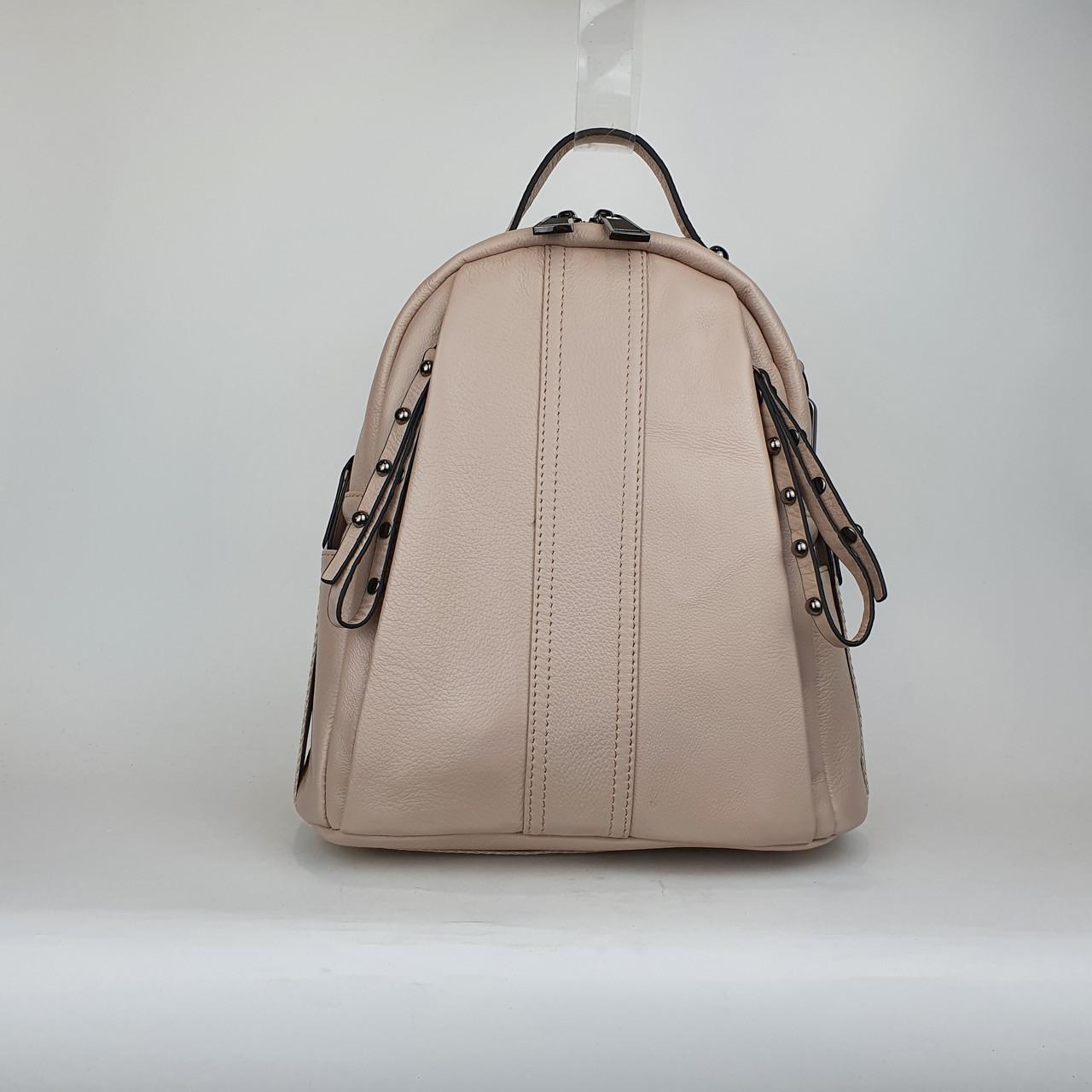 Міський сумка-рюкзак жіночий шкіряний рожевий пудровий H603 середній 29*22*14