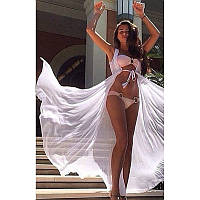 Жіноча Довга Біла Шифонова Пляжна Туніка - Накидка, фото 1