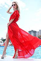 Женская Длинная Красная Шифоновая Пляжная Туника - Накидка, фото 1