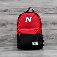 Молодежный городской, спортивный рюкзак, портфель New Balance, нью бэланс. Красный с черным