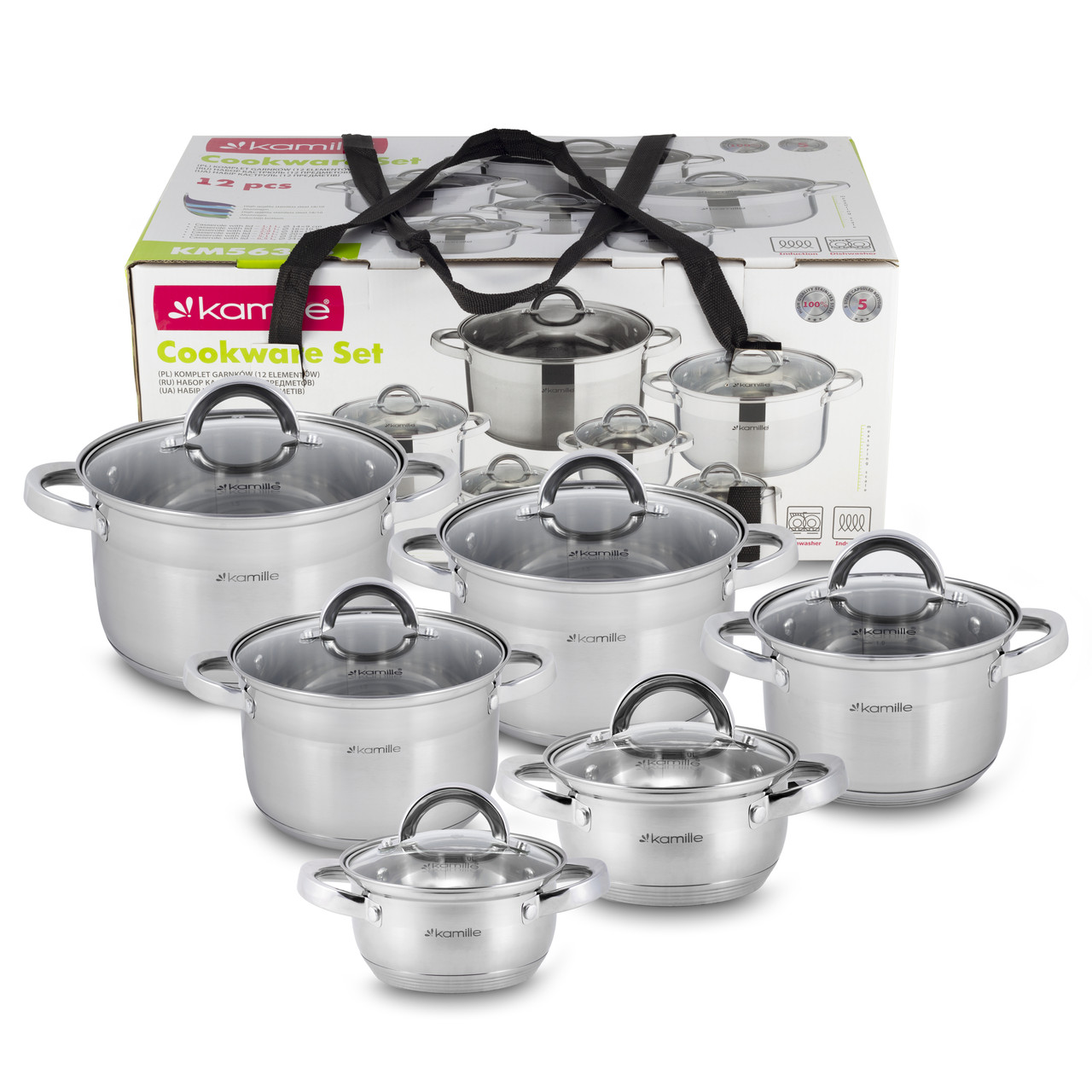 Набор посуды Kamille 12 предметов (кастрюли 1л, 1.8л, 2.5л, 3.8л, 4,5 л, 6.5л; полые ручки) из нерж. стали KM-5638S