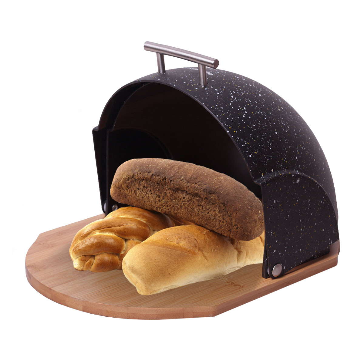 Хлібниця Kamille Чорний 38.5 см з пластику з бамбуковою основою KM-1106CH