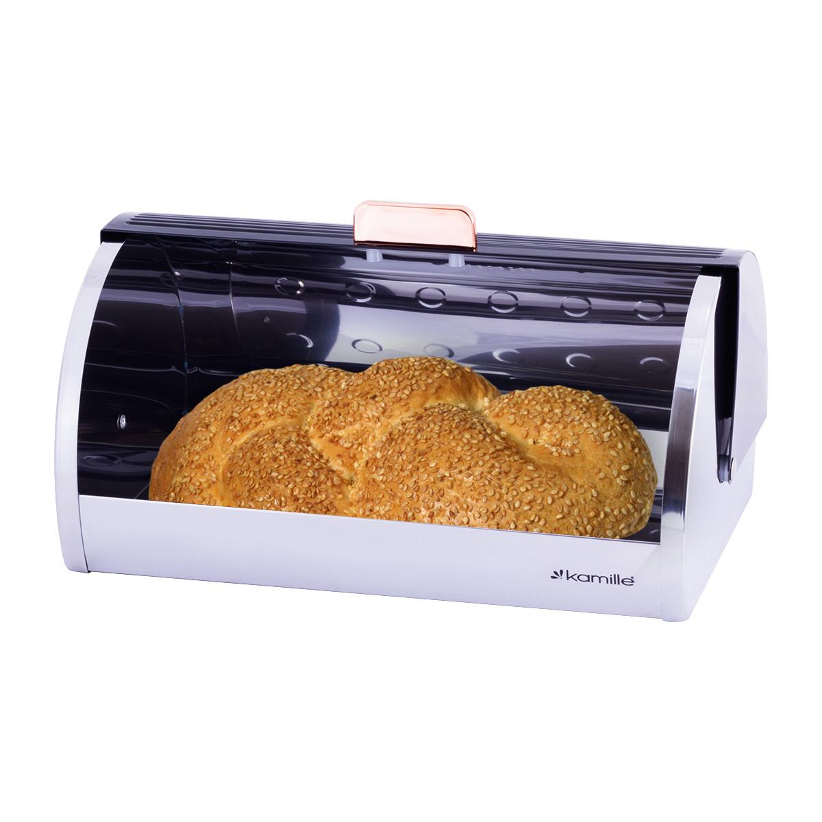 Хлібниця Kamille з нержавіючої сталі з відкидною кришкою з пластику
