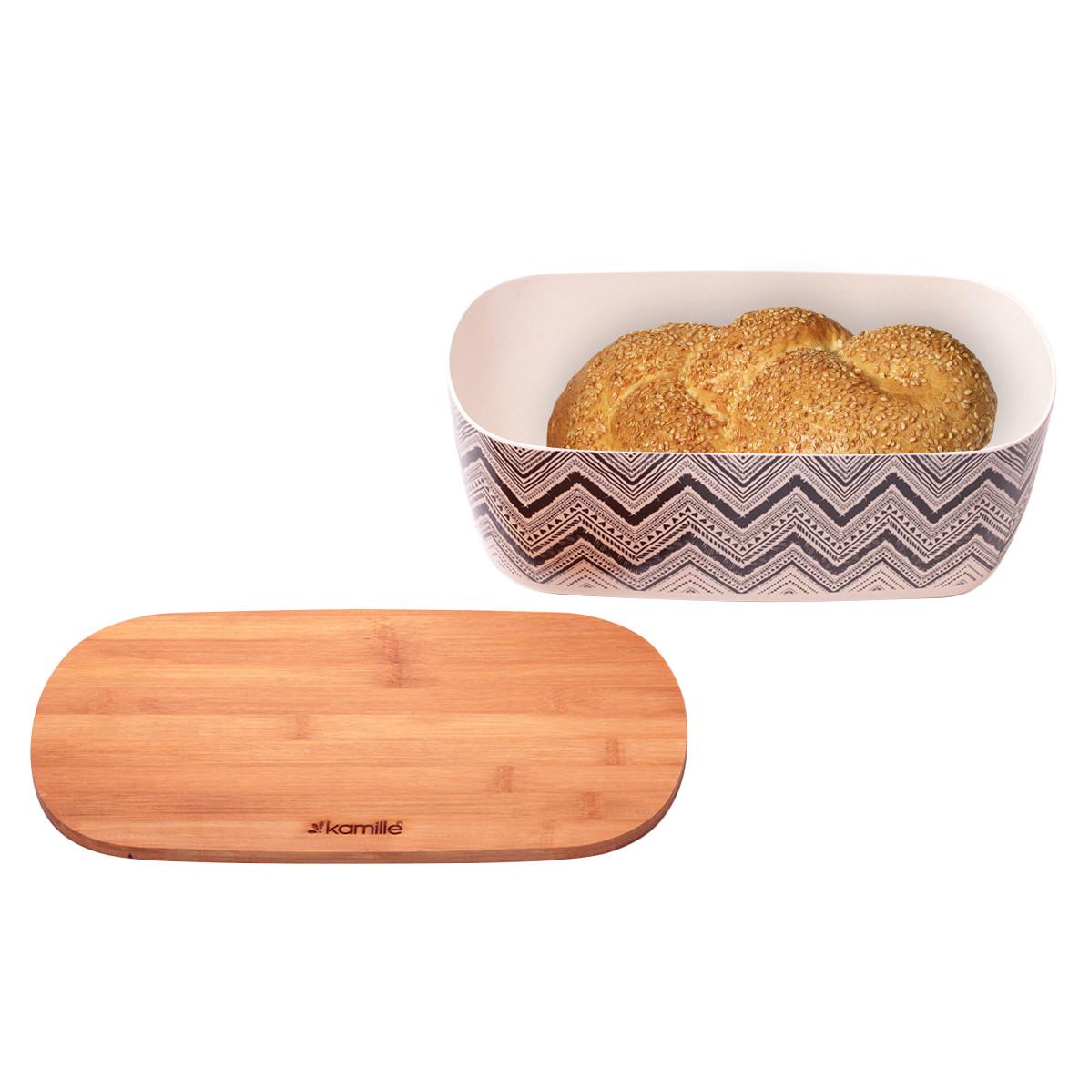 Хлебница Kamille 36*20.2*13.5см из бамбукового волокна с бамбуковой крышкой и с 3 емкостями 11*11*10.6см KM-1131