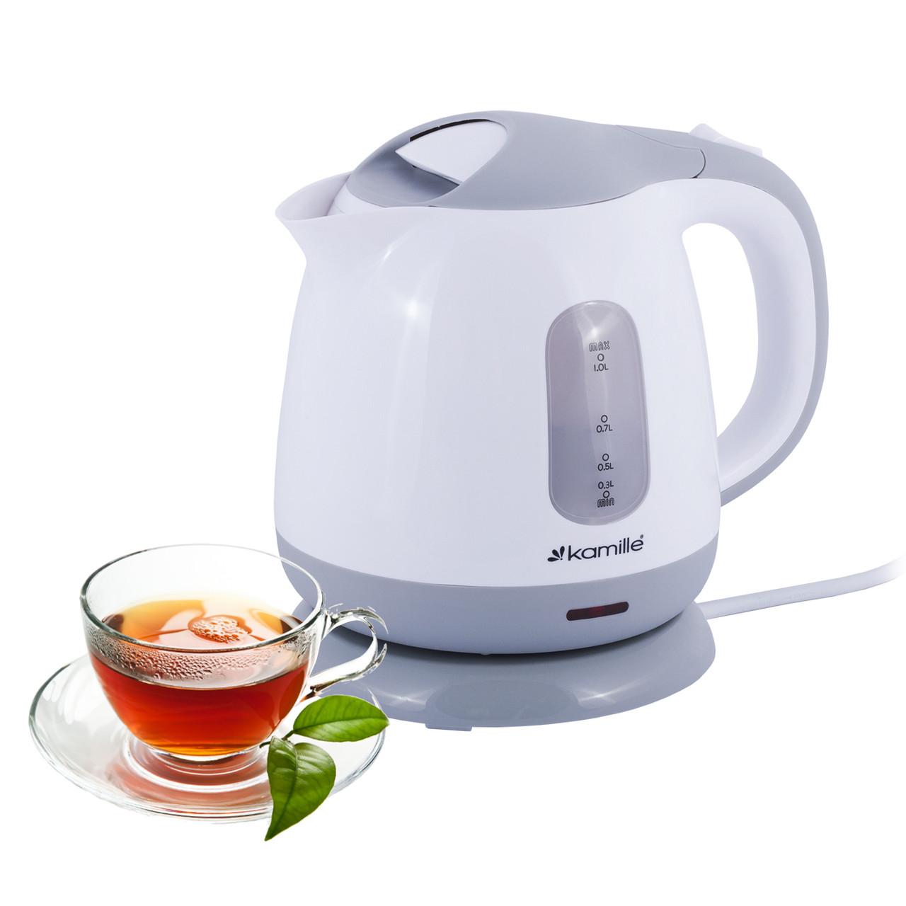 Чайник электрический Kamille 1л пластиковый (белый с серым) KM-1719B