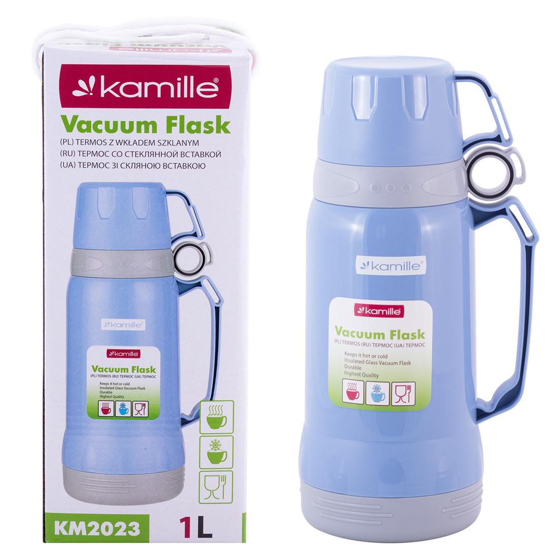 Термос Kamille 1000мл пластиковий зі скляною колбою