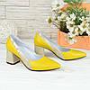 Туфли женские кожаные на устойчивом каблуке, цвет желтый/питон золото, фото 3