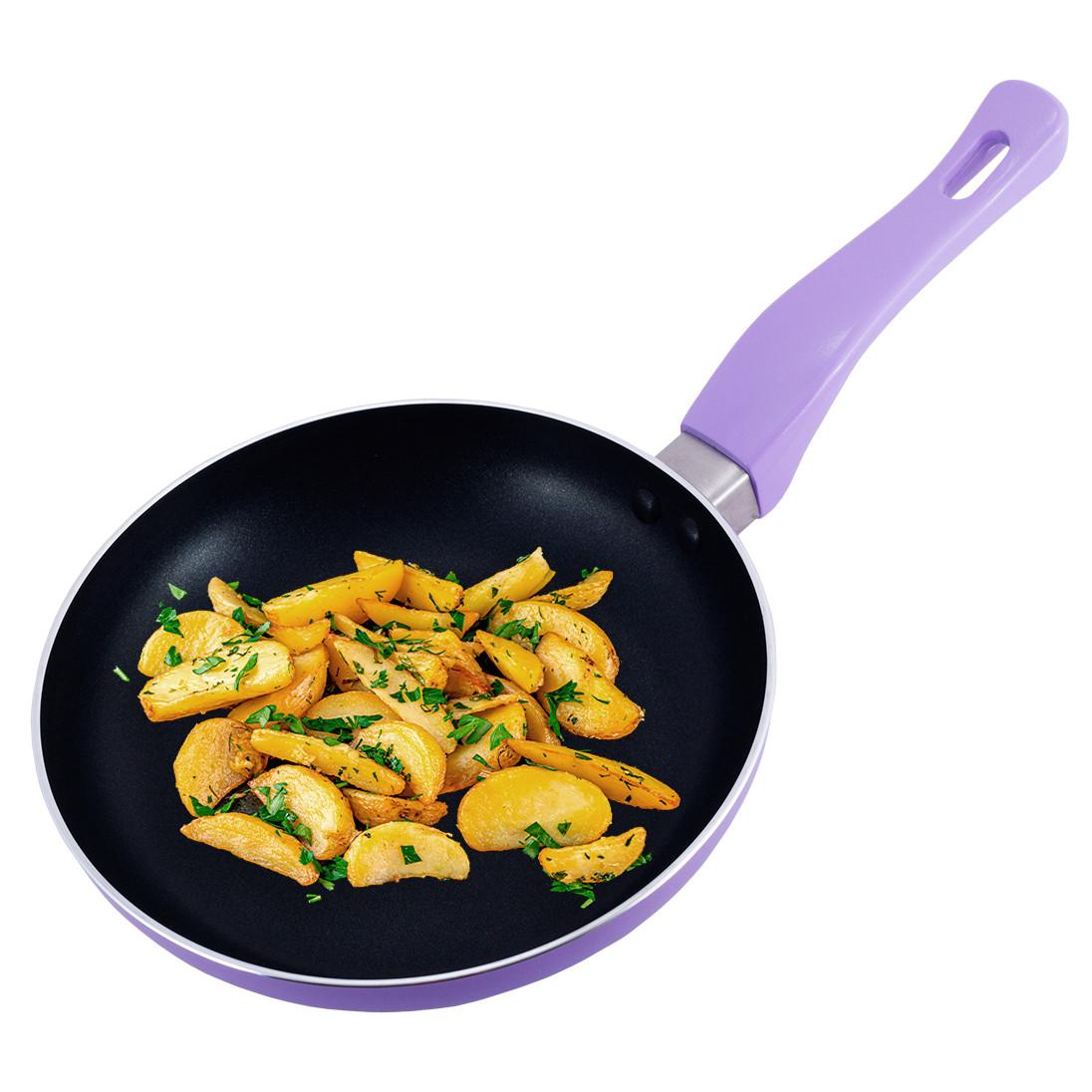 Сковорода Kamille Бузковий 20см з антипригарним покриттям без кришки для індукції і газу KM-4240AS