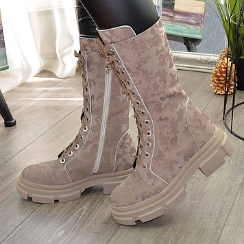 Ботинки высокие кожаные женские на шнуровке. Цвет бежевый защитный. 38 размер