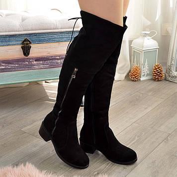 Ботфорты замшевые черные женские на каблуке. 36 размер