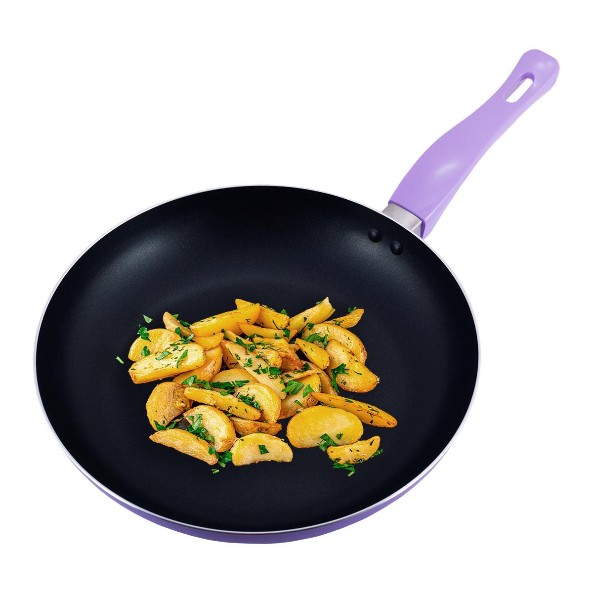Сковорода Kamille Бузковий 28см з антипригарним покриттям без кришки для індукції і газу KM-4248AS
