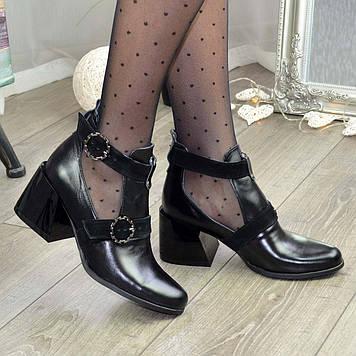 Ботильоны женские черные на каблуке. 39 размер