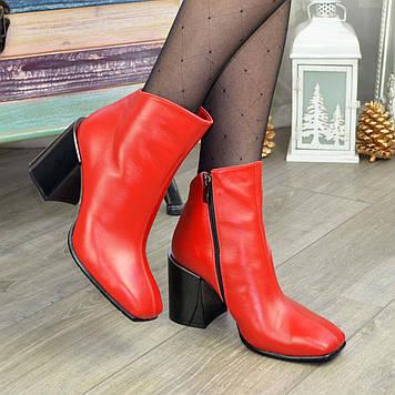 Ботинки женские кожаные с квадратным носком. Цвет красный. 39 размер