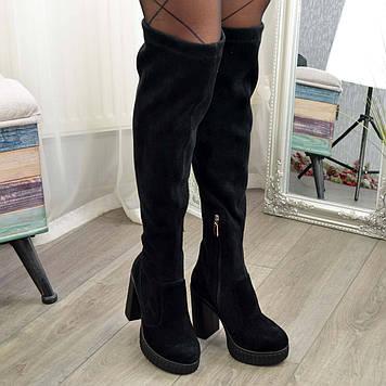 Ботфорты чулки женские замшевые на высоком каблуке. Цвет черный. 38 размер