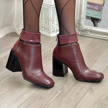 Ботинки бордовые женские с квадратным носком. Натуральная кожа и натуральная кожа с тиснением питон. 38 размер