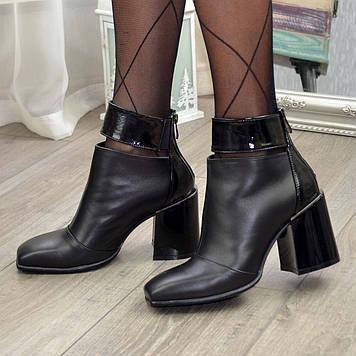 Ботинки черные женские с квадратным носком. Натуральная кожа и лаковая кожа. 38 размер