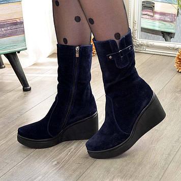 Женские зимние замшевые ботинки на танкетке. 37размер