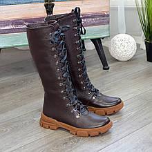 Сапоги женские высокие на шнуровке из натуральной кожи флотар коричневого цвета. 41 размер