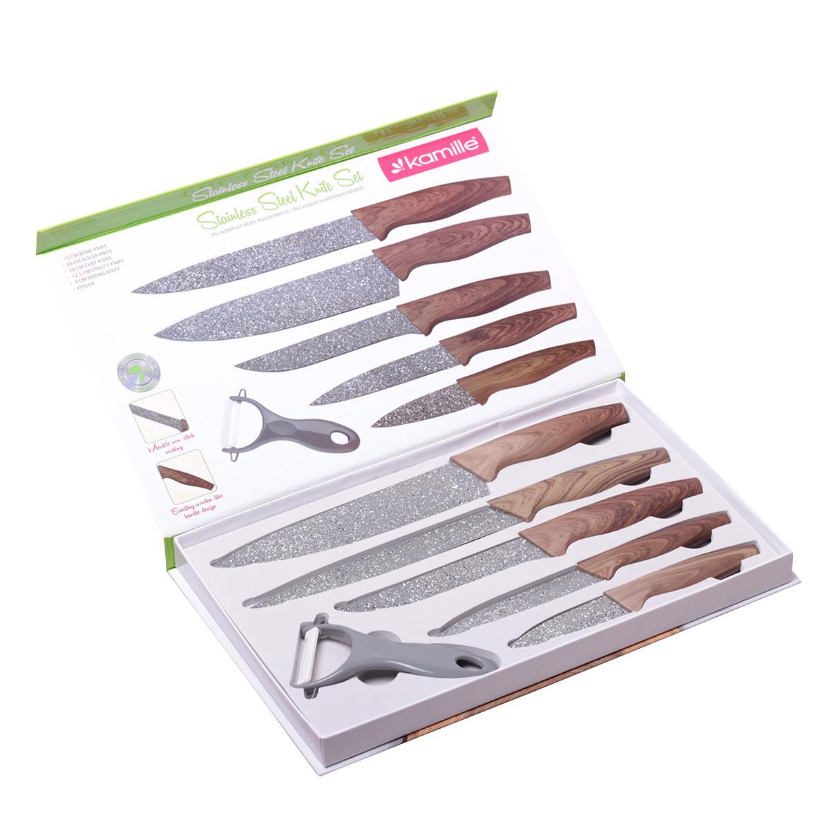 Набор кухонных ножей Kamille 6 предметов в подарочной упаковке (5 ножей+овощечистка) KM-5043