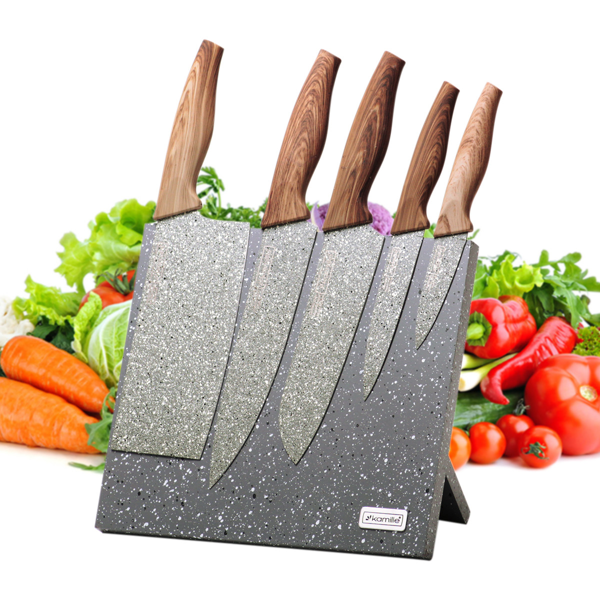 Набор ножей 6 предметов из нержавеющей стали на подставке с мраморным покрытием (5 ножей+подставка) KM-5047