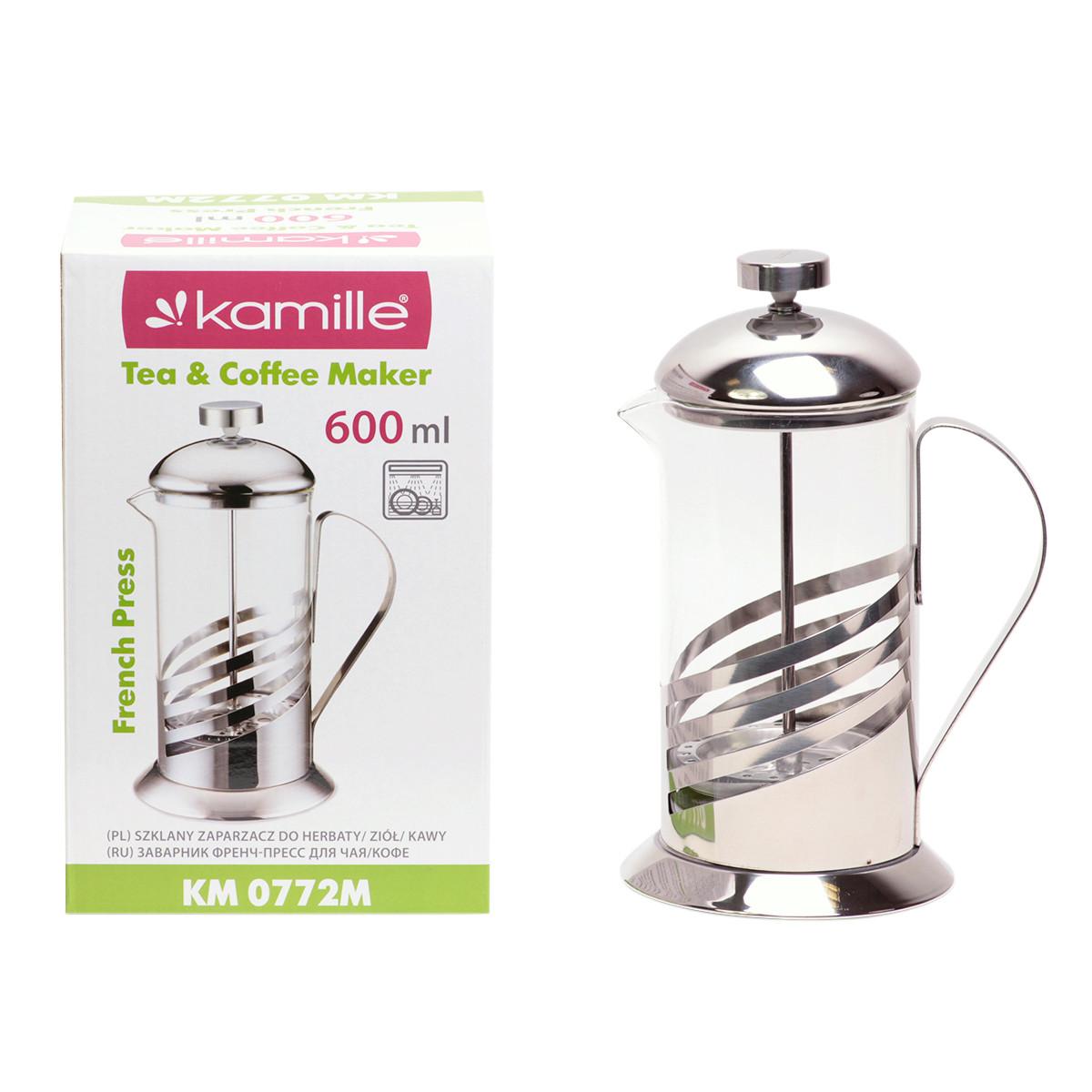 Френчпресс Kamille 600мл (нержавеющая сталь, стекло) KM-0772M
