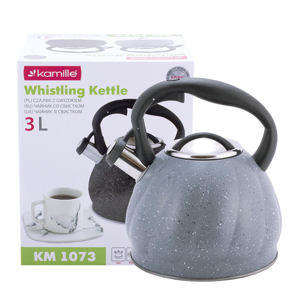 Чайник Kamille Серый 3л из нержавеющей стали со свистком и нейлоновой ручкой для индукции и газа KM-1073SR