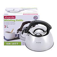 Чайник Kamille 3л из нержавеющей стали со свистком и термометром и нейлоновой ручкой  для индукции и газа KM-1077