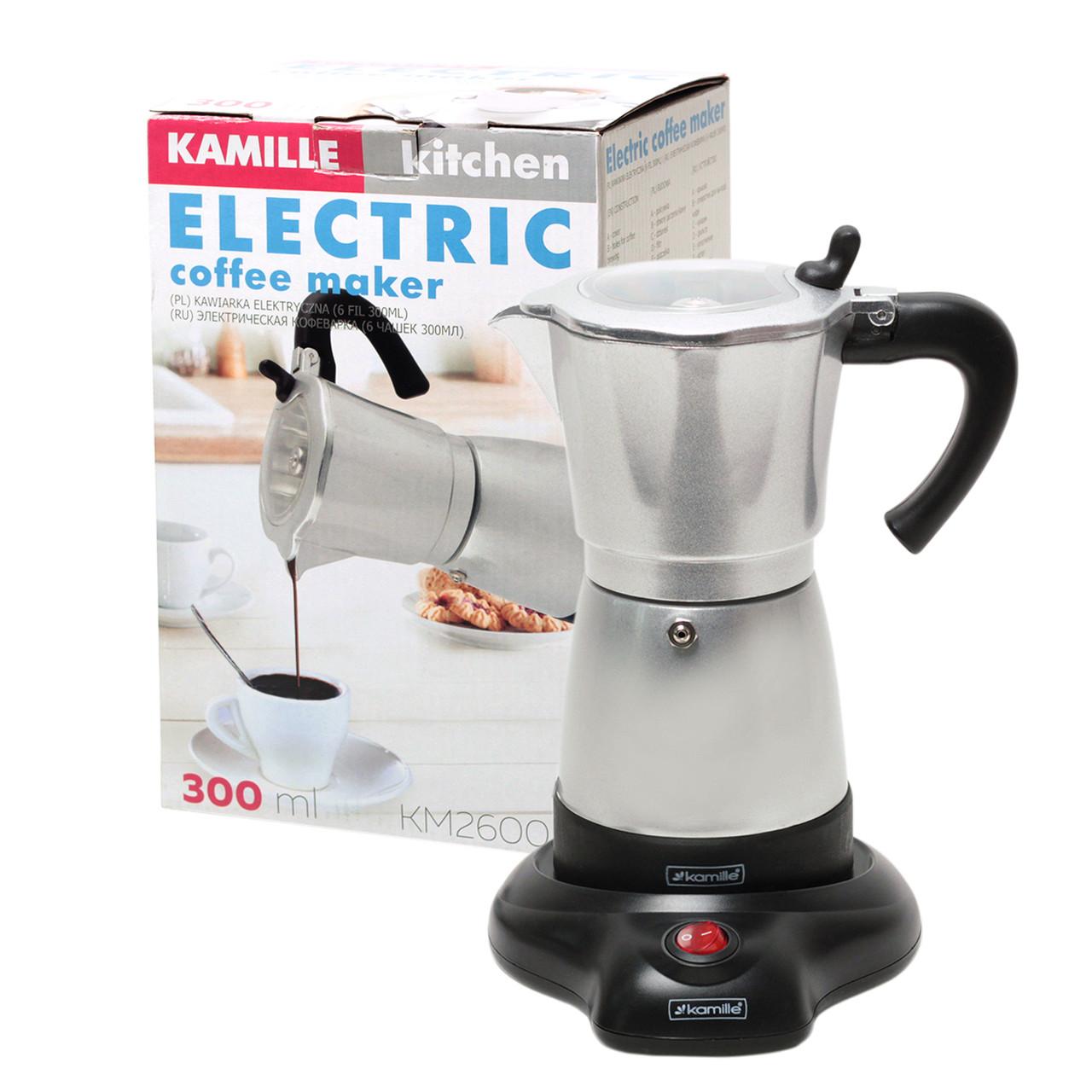 Кофеварка электрическая гейзерная Kamille 300мл из алюминия KM-2600A