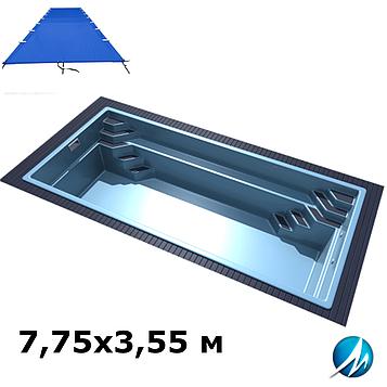 Поливиниловое накрытие для стекловолоконного бассейна 7,75х3,55 м