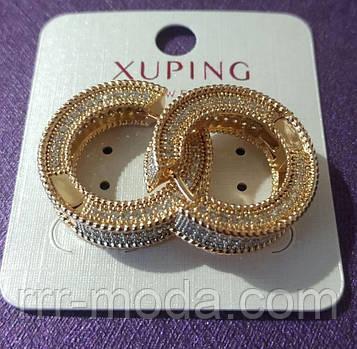 634. Серьги кольца со стразами. Позолоченная бижутерия оптом из Китая.