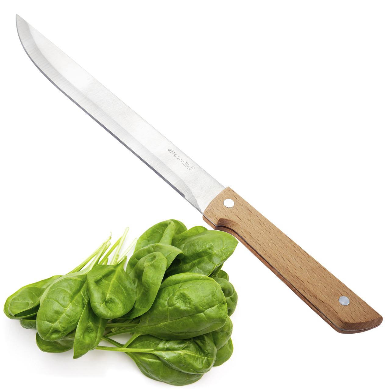 Нож кухонный для мяса Kamille из нержавеющей стали с деревянной ручкой KM-5316