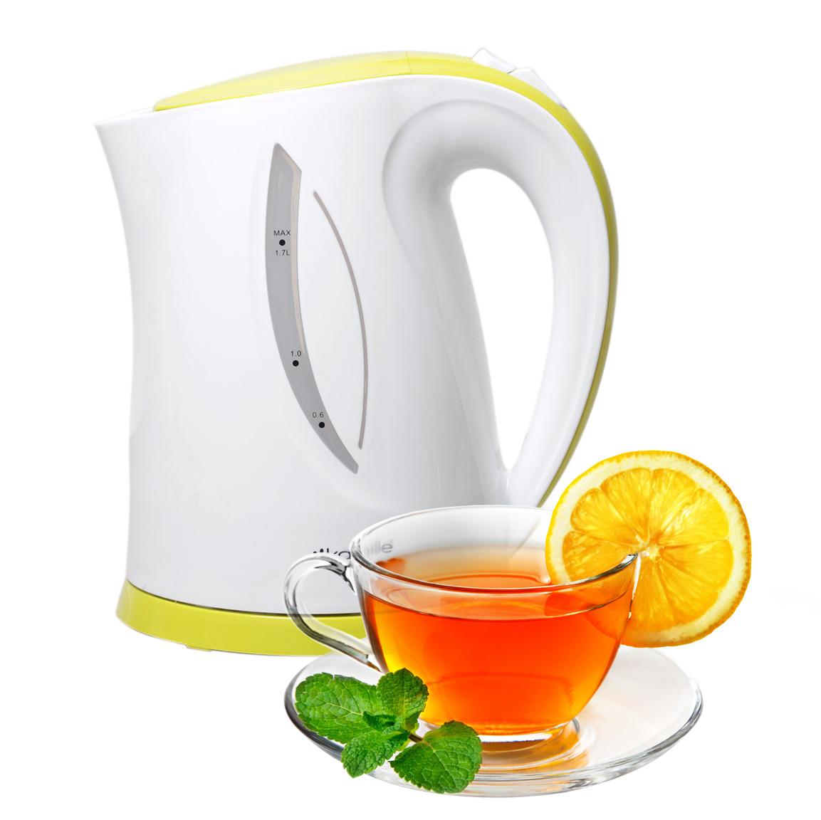 Чайник електричний Kamille 1.7 л пластиковий (білий із салатовим)