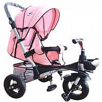 Детский трехколесный велосипед-коляска с корзиной, регулируется спинка и капюшон TR20104  (цвет Розовый)