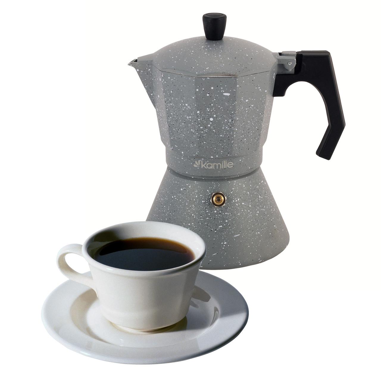 Кофеварка гейзерная 300мл (6 порций) из алюминия с широким индукционным дном KM-2517