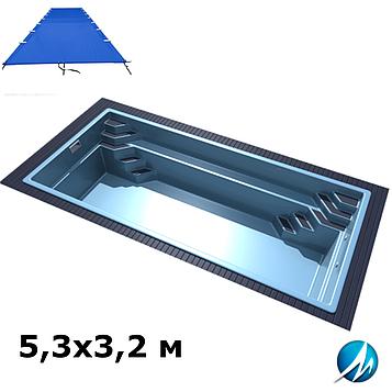 Поливиниловое накрытие для стекловолоконного бассейна 5,3х3,2 м