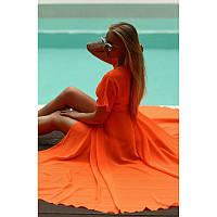 Женская Длинная Оранжевая Шифоновая Пляжная Туника - Накидка