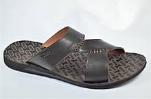 Мужские кожаные шлепанцы коричневые Bonis 276935