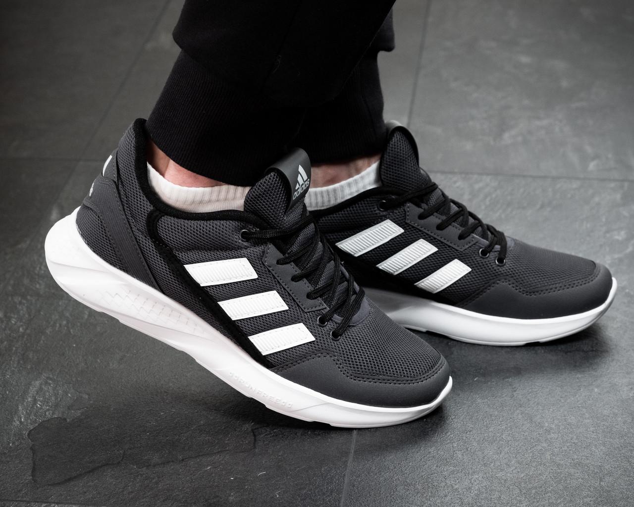 Чоловічі кросівки Adidas Сірі Сітка, Репліка